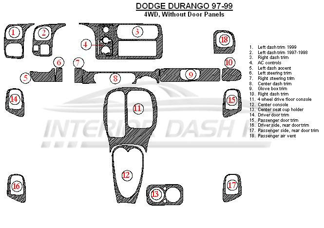 Dodge Durango 1997-1999 Dash Trim Kit (Without Rear Door