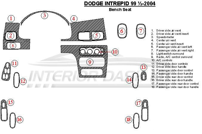Dodge Intrepid 2000-2004 Dash Trim Kit (Automatic