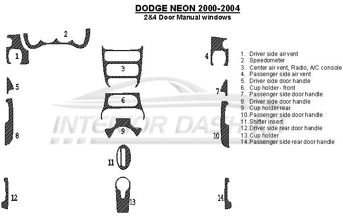 Dodge Neon 2000-2005 Dash Trim Kit (Manual, Windows, 14
