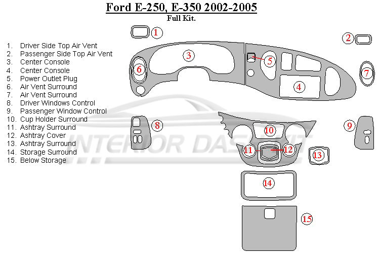 Ford Econoline 2000-2005 Dash Trim Kit (Full Kit