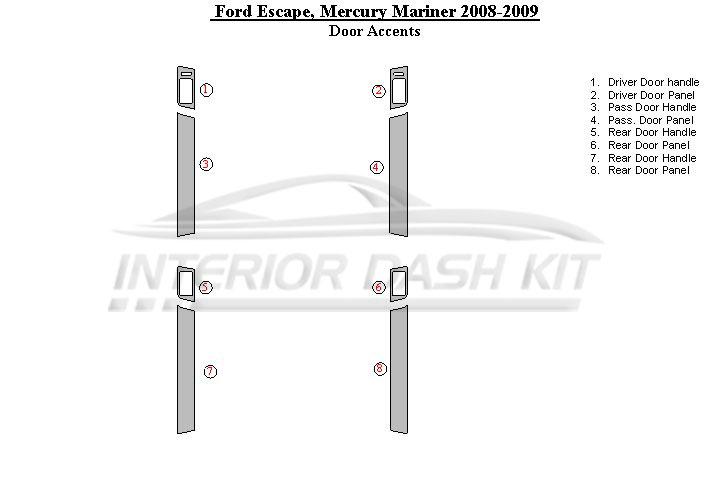 Ford Escape 2008-2012 Dash Trim Kit (Door Accents