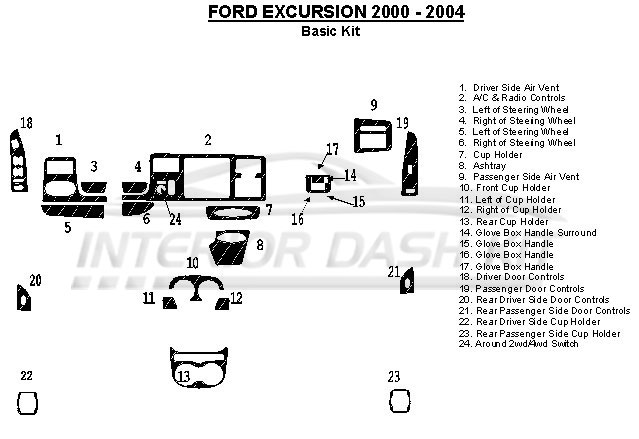 Ford Excursion 2000-2004 Dash Trim Kit (Basic Kit, OEM