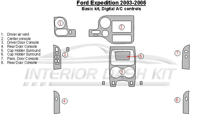 Ford Expedition 2003-2006 Dash Trim Kit (Basic Kit