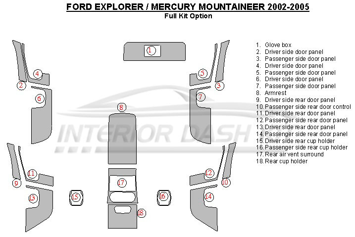 Ford Explorer 2002-2005 Dash Trim Kit (Full Kit Options 18