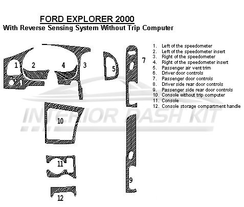 Ford Explorer 2000 Dash Trim Kit (With Reverse Sensing