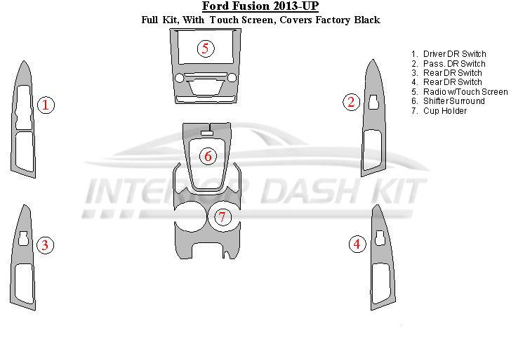 Ford Fusion 2013-2014 Dash Trim Kit (Medium Kit, With