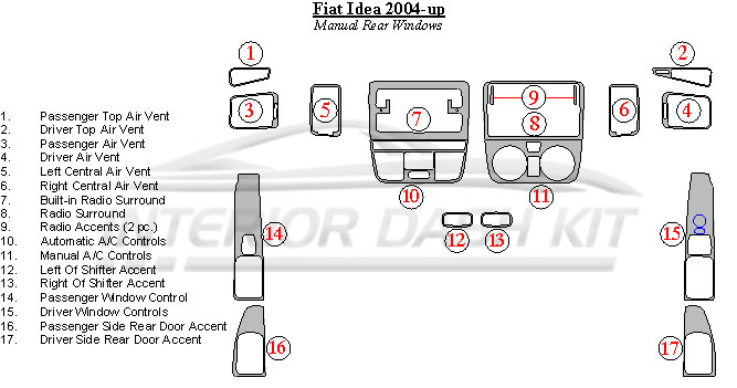 Fiat Idea 2004-2007 Dash Trim Kit (Manual Rear Windows