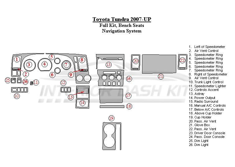 Toyota Tundra 2007-2010 Dash Trim Kit (Full Kit, Bench