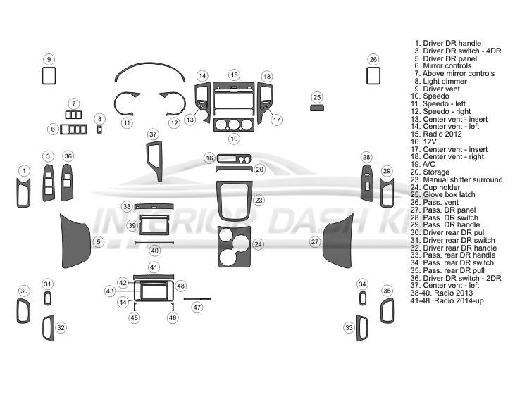 Toyota Tacoma 2012-2015 Dash Trim Kit (Full Kit, 2&4 DR