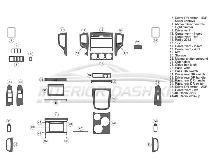 Toyota Tacoma 2012-2015 Dash Trim Kit (Basic Kit, 2&4 DR