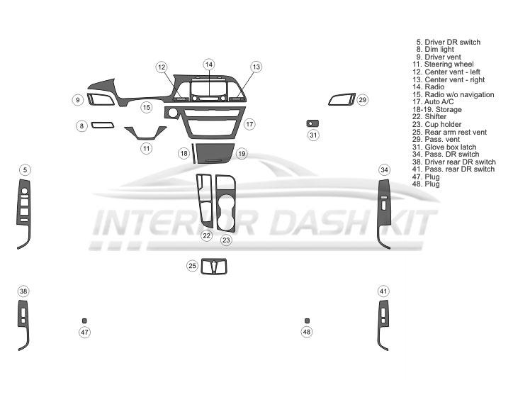 Hyundai Sonata 2015-2017 Dash Trim Kit (Basic Kit, 4 DR