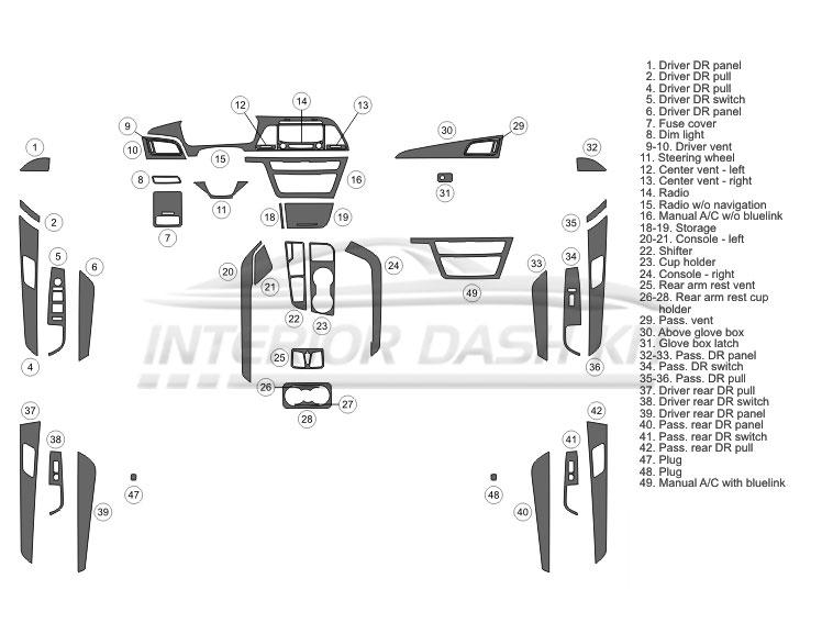 Hyundai Sonata 2015-2017 Dash Trim Kit (Full Kit, 4 DR