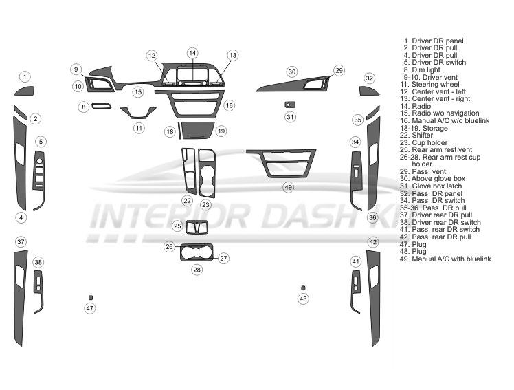 Hyundai Sonata 2015-2017 Dash Trim Kit (Medium Kit, 4 DR