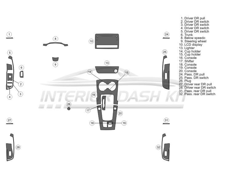 Audi A3 2015-UP Dash Trim Kit (Basic Kit, 4 DR, 24 Pcs
