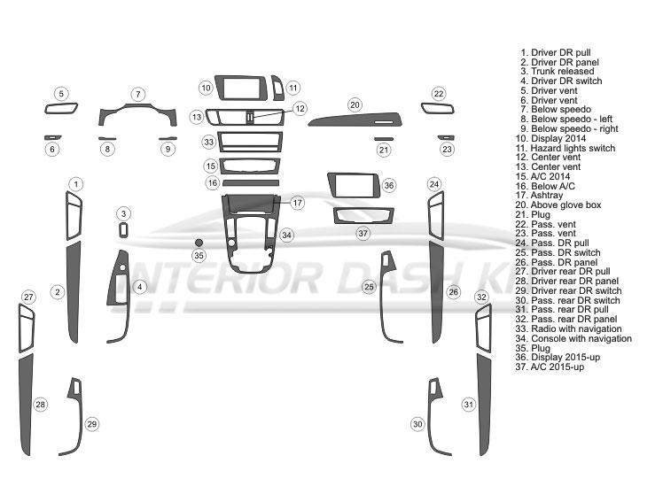 Audi Q5 2014-2017 Dash Trim Kit (Full Kit, 4 DR, Covers