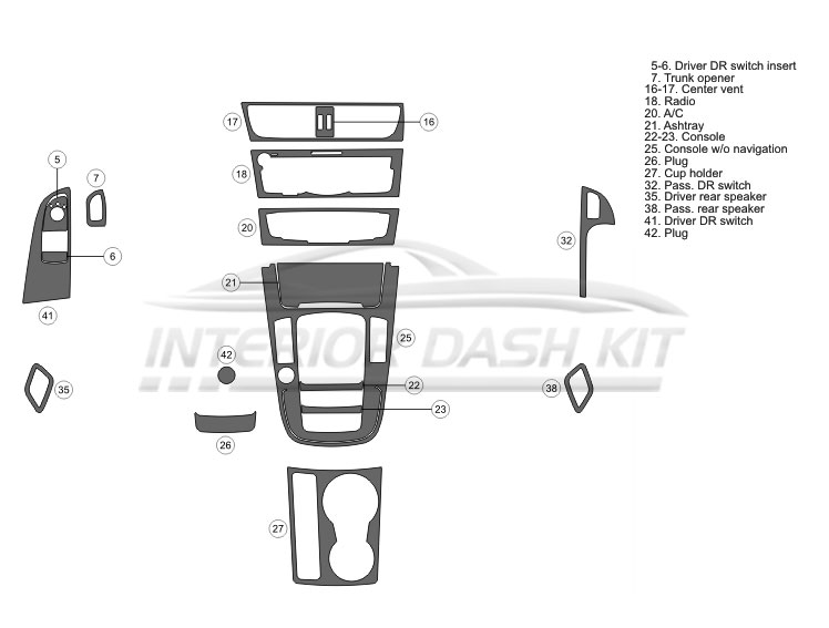Audi A5 2014-2017 Dash Trim Kit (Basic Kit, 2 DR, Fits
