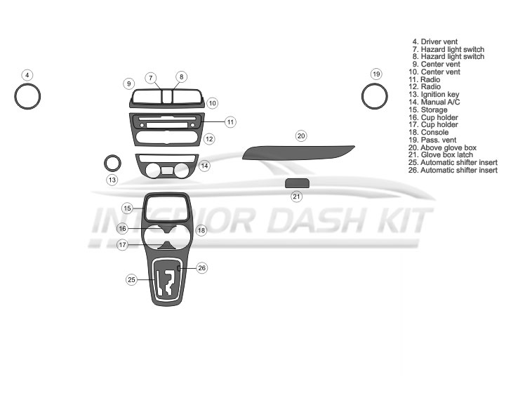 Mitsubishi Mirage 2014-UP Dash Trim Kit (Basic Kit, 4 DR