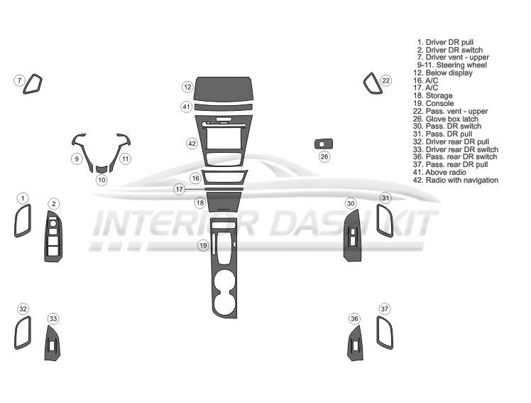 Acura ILX 2016-2018 Dash Trim Kit (Basic Kit, 4DR, Fits