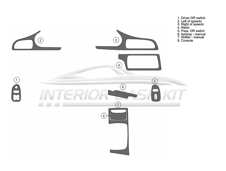Chevrolet Camaro 1994-1996 Dash Trim Kit (Full Kit, 2DR
