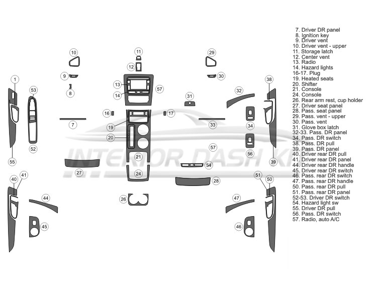Chevrolet Traverse 2013-2017 Dash Trim Kit (Full Kit, 4DR