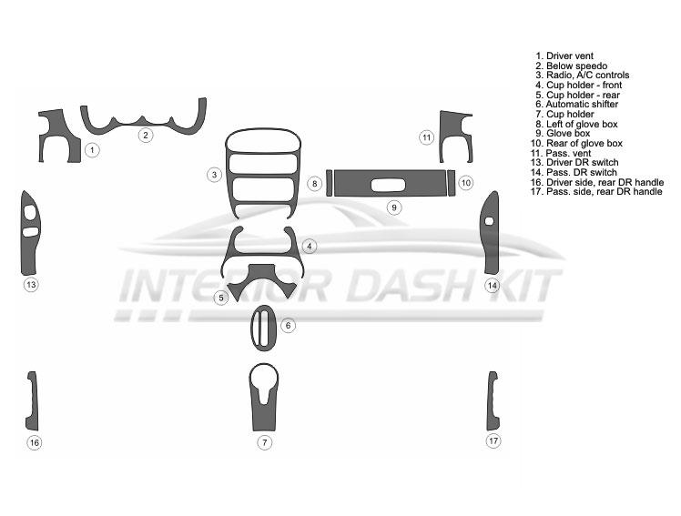Dodge Neon 2000-2005 Dash Trim Kit (Medium Kit, 4DR, Fits