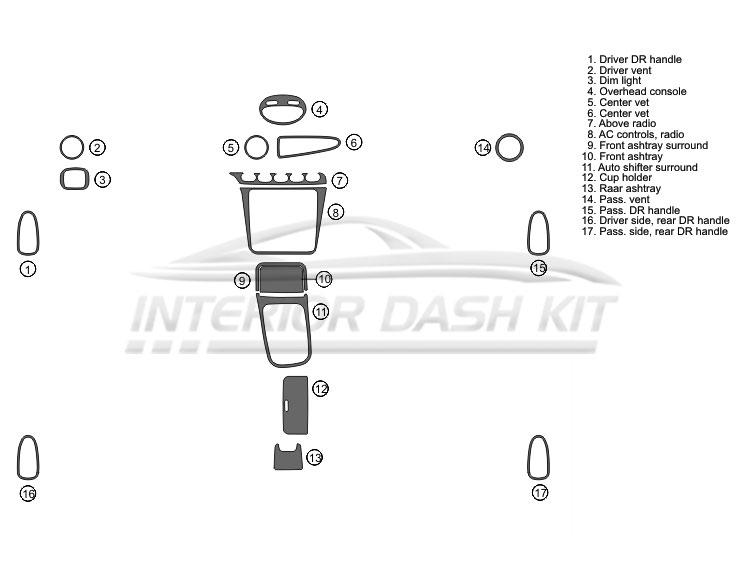 Daewoo Leganza 1999-2003 Dash Trim Kit (Full Kit, 4DR, 17