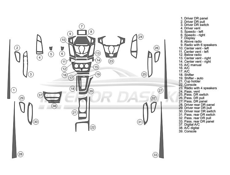 Ford Focus 2012-2014 Dash Trim Kit (Full Kit, 4DR, Fits