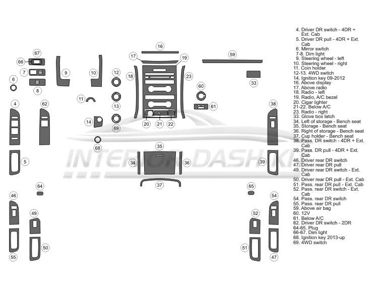 Ford F-150 Super Crew 2009-2012 Dash Trim Kit (Medium Kit