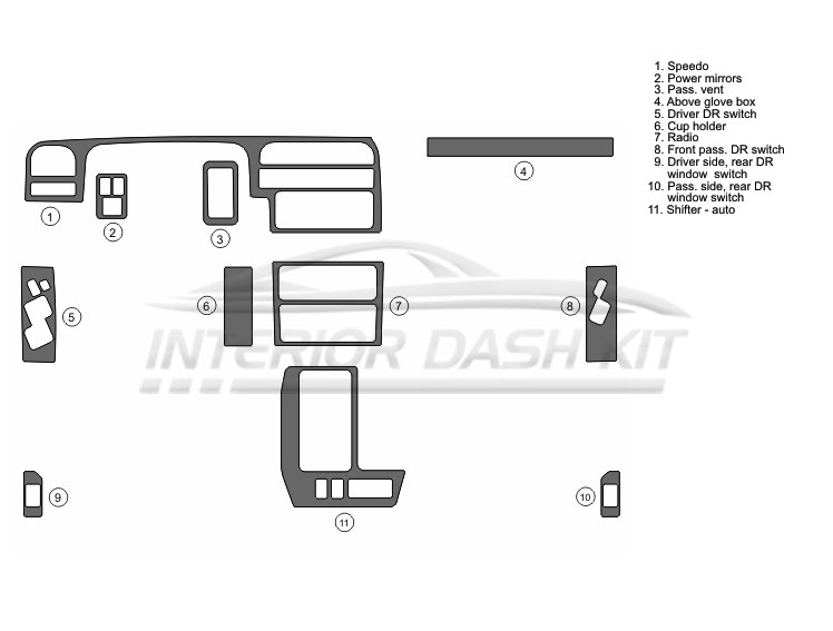 Isuzu Trooper 1995-2001 Dash Trim Kit (Basic Kit, 4DR