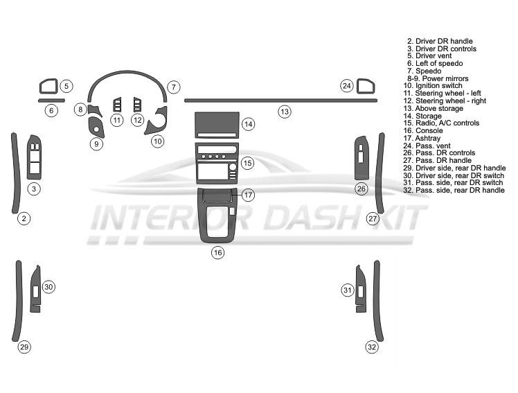 Infiniti G35 2005-2006 Dash Trim Kit (Medium Kit, 4DR
