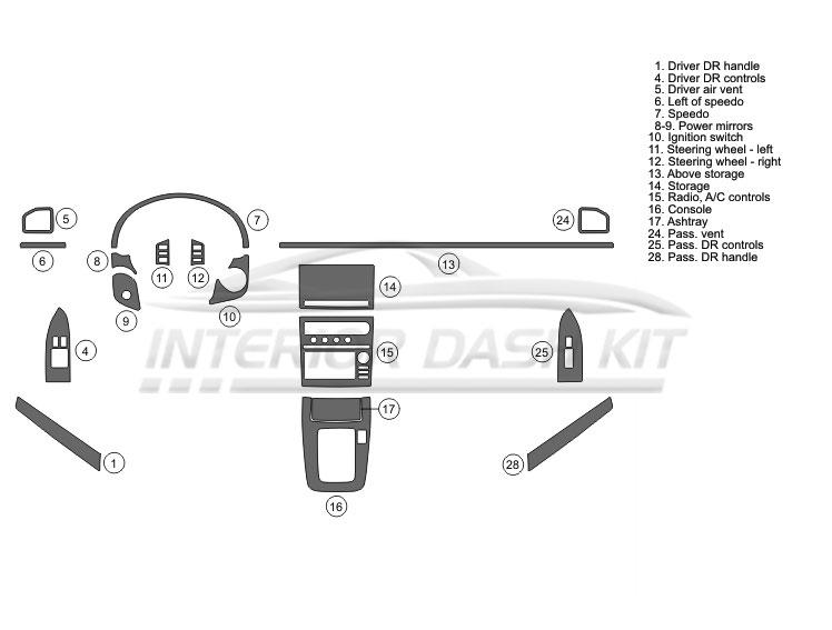 Infiniti G35 2005-2006 Dash Trim Kit (Medium Kit, 2DR