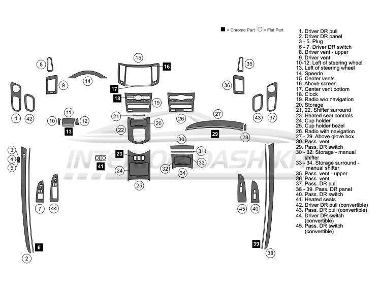 Infiniti G37 2008-2009 Dash Trim Kit (Medium Kit, 2DR