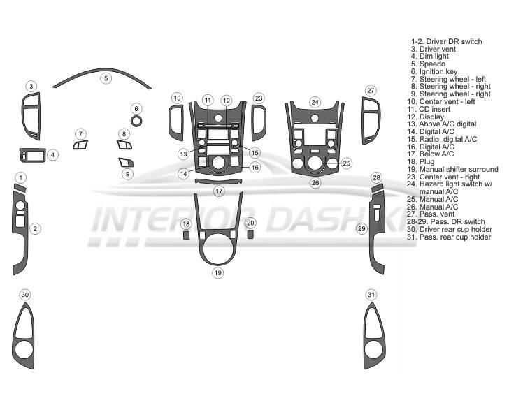 KIA Forte Koup 2010 Dash Trim Kit (Full Kit, 2DR, Fits