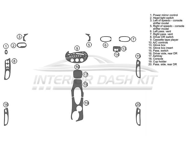 Mercury Sable 1998-1999 Dash Trim Kit (Full Kit, 4DR, Fits
