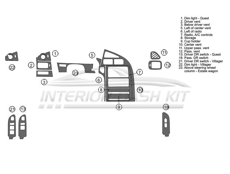 Mercury Villager 1999-2003 Dash Trim Kit (Basic Kit, 3DR