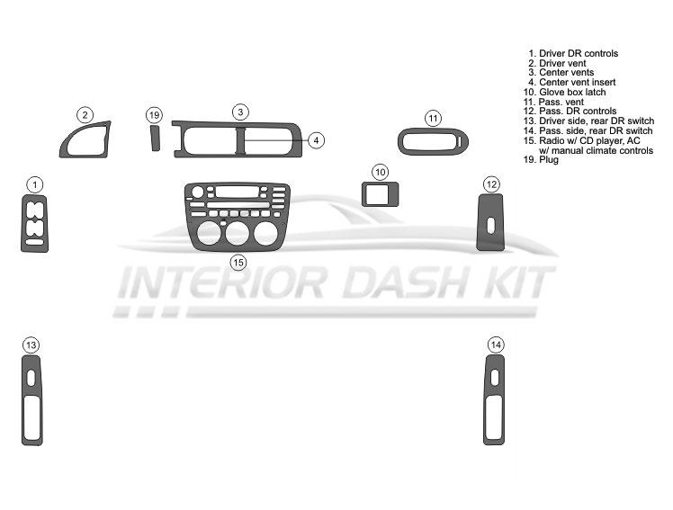 Mercury Sable 2000-2005 Dash Trim Kit (Full Kit, 4DR, Fits