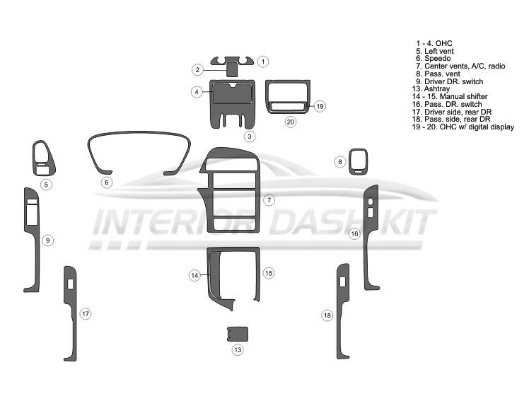 Nissan Pathfinder 1996-1999 Dash Trim Kit (Full Kit, 4DR