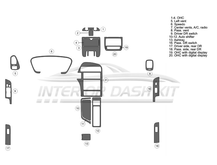 Nissan Pathfinder 1999.5-2000 Dash Trim Kit (Full Kit, 4DR