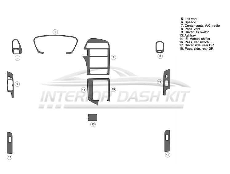 Nissan Pathfinder 1999.5-2000 Dash Trim Kit (Basic Kit