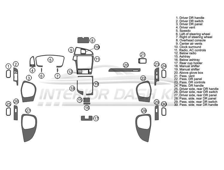 Nissan Pathfinder 2001-2004 Dash Trim Kit (Large Kit, 4DR