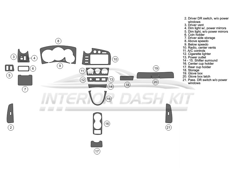 Pontiac Vibe 2005-2008 Dash Trim Kit (Basic Kit, 4DR, Fits