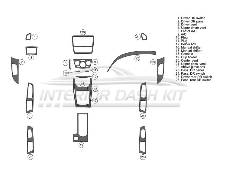 Subaru Impreza WRX 2008-2011 Dash Trim Kit (Basic Kit, 4DR