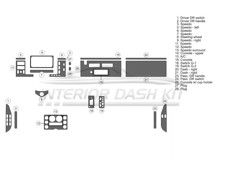 Freightliner FL-Series 1997-2002 Dash Trim Kit (Large Kit