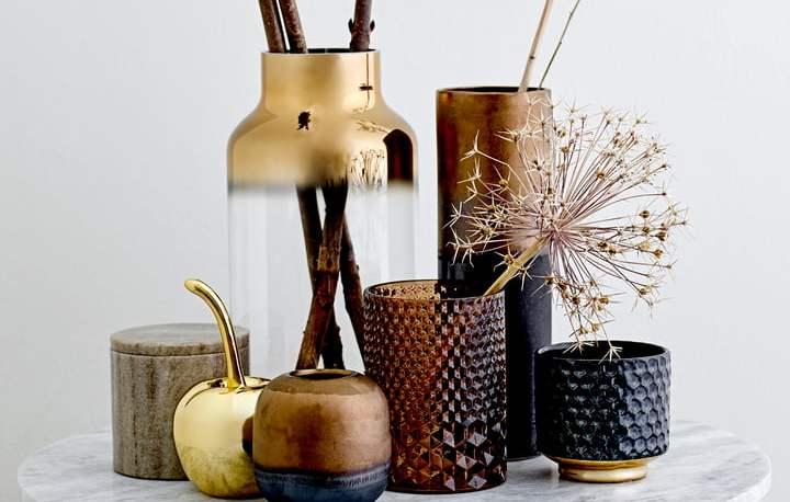 Bloomingville - Earthenware vase, metal vase, glass vase