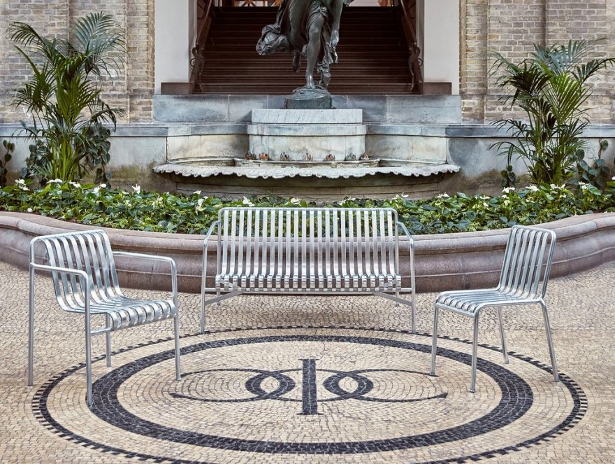 The Hot Galvanised Version of the Palissade Outdoor Furniture Design Collection by Ronan & Erwan Bouroullec for HAY