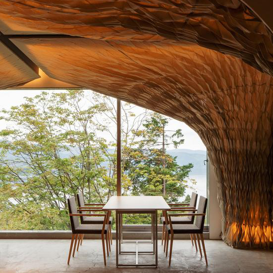 The Perfect Interior Design Combination of Wood and Fabric – WE Hotel at Lake Toya in Japan by Architect Kengo Kuma