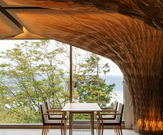 The Perfect Interior Design Combination of Wood and Fabric - WE Hotel at Lake Toya in Japan by Architect Kengo Kuma, Interior Design, Interior 3000, Design Blog, Furniture Design