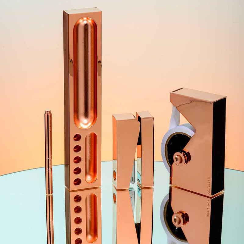 Beautiful Office Stationary Design in a Copper Finish – Cube Tape Dispenser, Stapler, Desk Tidy Tray and Pen by Tom Dixon