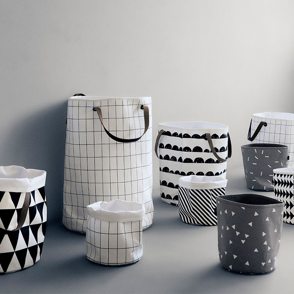 Ferm Living Grid Design Collection – Wallpaper, Shower Curtain and Basket