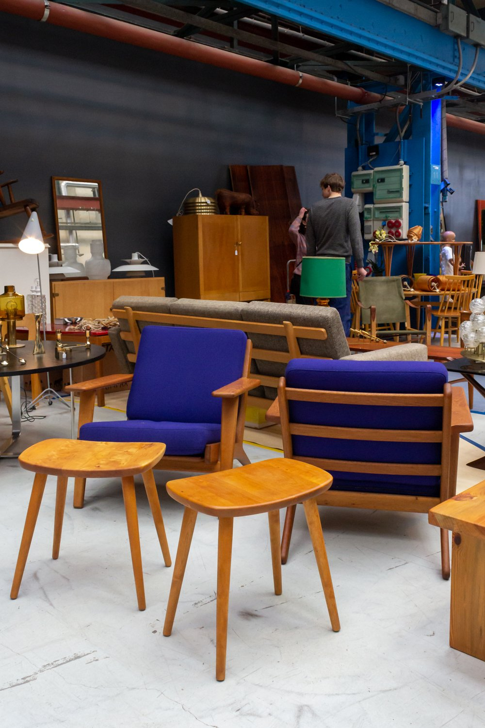purple mid-century chairs